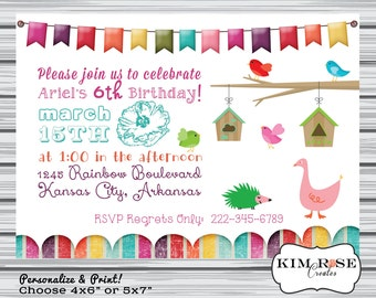 Girl Bunting Personalized Birthday Invitation - Birds - Colourful - Printable Digital File