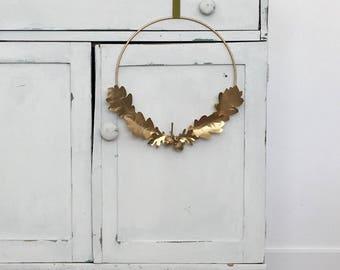 Asymmetrical Gold Harvest Wreath, Modern Wreath, Fall Wreath