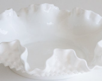 Fenton Milk Glass Bowl in Classic Hobnail Pattern with Scalloped Edge, vintage