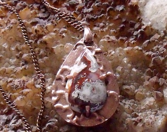 Teardrop Shaped Copper Metal Clay Pendant with Crazy Lace Agate