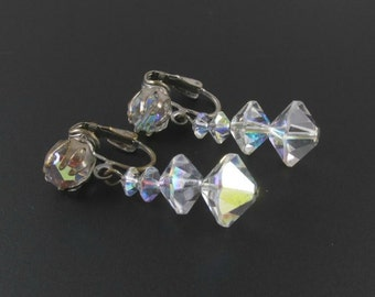 Crystal Bead Earrings, Crystal Earrings, Crystal Dangle Earrings, Long Crystal Earrings, Bridal Earrings, Wedding Jewelry
