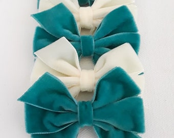 Velvet 3 inch bows Cream and Teal