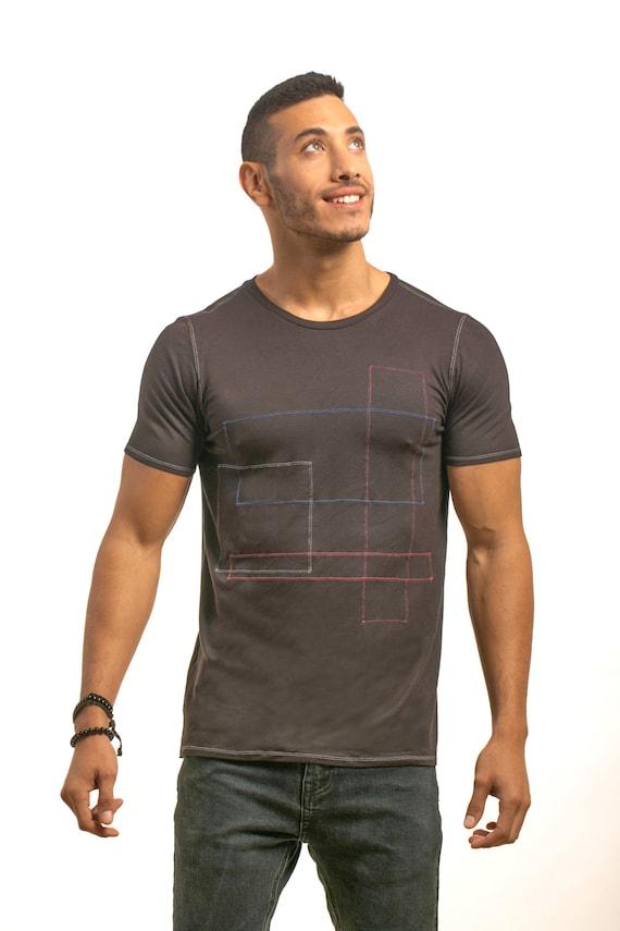 shaped tshirt Man short men Black men him gifts for sleeves T Handmade men geometric Men tee shirt casual tshirt Men top shirt men HxSfnFnwq