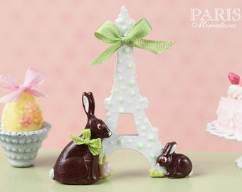 "MTO-An ""Easter in Paris"" Eiffel Tower and Chocolate Bunny Decoration for Spring (Green Ribbon) - Miniature Decoration in 12th Scale"
