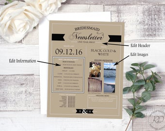 Bridesmaid Newsletter. Simply Charming. Layout 1. Instant Download. Wedding Newsletter. Editable.
