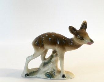 Vintage Deer Figurine, Spotted Fawn, Enesco Deer Figurine