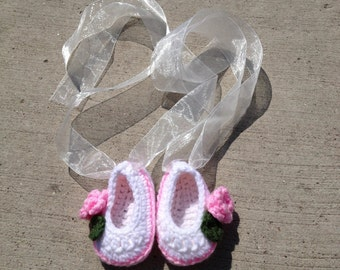 Booties - crocheted booties - baby shoes - crocheted baby shoes - ballerina shoes - baby ballerina shoes - free shipping - baby shower gift