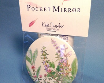 Pocket Mirror - Wild Flowers and Herbs