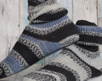 Wool knitted  socks - Hand Made and finished, handcranked  KNITTED winter UNISEX SOCKS hipster socks cosy feet  unisex soft delicate merino