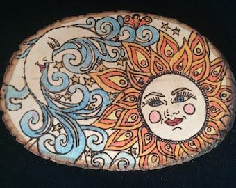 Sun and Moon Pyrography Basswood