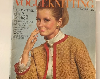 Vintage Vogue Knitting, 1960's Vogue  Knitting Book, Vintage Pattern Booklet, Vogue Edition No 3, Vogue Knitting Book, Vintage Haberdashery