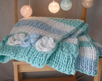 Cozy pastel baby blanket - unique and special handmade blanket for a boy or a girl