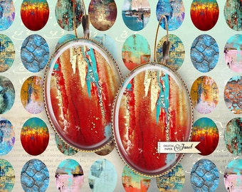 Abstract Art - oval image - 18 x 25 mm - digital collage sheet - Printable Download