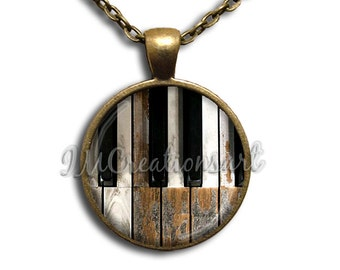 Rustic Piano Glass Dome Pendant or with Chain Link Necklace  PR104