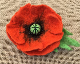 Felting Felted Brooch Orange Poppy grean leaf Merino Wool Beads Great gift for any occasion