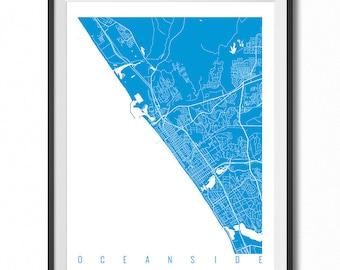 OCEANSIDE Map Art Print / California Poster / Oceanside Wall Art Decor / Choose Size and Color