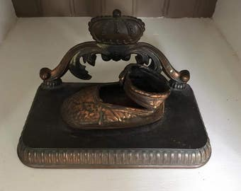 Vintage Bronzed Baby Shoe Bookend