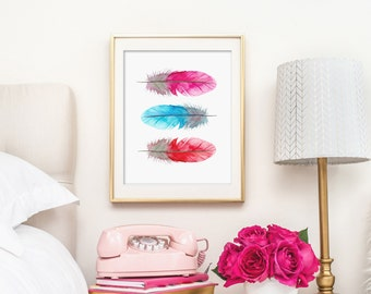 Feathers Art, Bohemian Watercolor Feathers Art Print - PRINTABLE - Instant Download