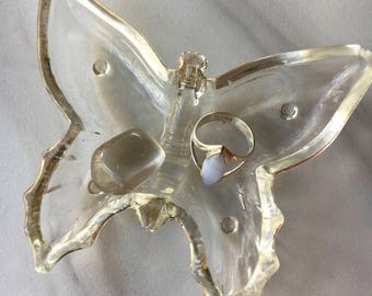 Vintage Butterfly Dish with Smokey Quartz Crystal, Vintage Butterfly, Ring Dish, Jewelry Dish, Vintage Glass, Glass Butterfly