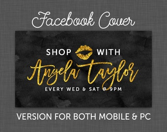 Facebook Cover, Facebook Timeline, GOLD - Facebook Chalkboard, Facebook Black - Custom - Personalized