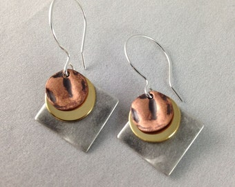 Gold, Silver and Copper Mixed Metal Handmade Earrings