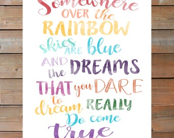 Somewhere Over the Rainbow Printable ||Instant Download||