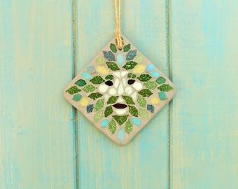 Green Man Mosaic Garden Yard Hanging Decoration Ornament