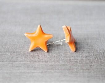 Star Stud Earrings ceramic honey 1.4 cm