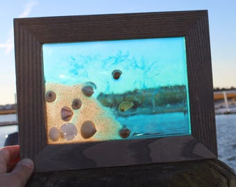 Resin Beach Art, Resin Beach Decor, Beach Home Decor, Beach Office Decor, Beach Water Scene