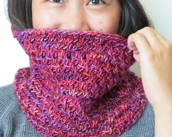 Hand-knitted Magenta Neckwarmer / Cowl