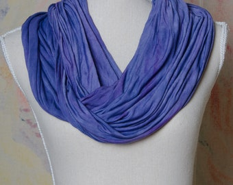 Hand dyed tie dye infinity rayon dressy comfy scarf cover up plus size drapes handmade hand made indian india meditation yoga grape