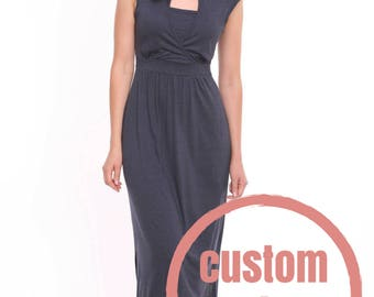 Custom Color Breastfeeding Dress, Nursing Dress, Navy Maternity Dress Maxi Long, Nursing Clothes, Breastfeeding Dress for Photo Shoot