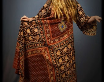 Iconic vintage Adini indian dress / hand dyed block print ethnic tribal textile /  festival gown /  amazing 70s hippie dress