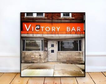 Fine Art Photo - Victory Bar, Bar, Landscape, Urban, square Fine Art Photography, home decor, Photography