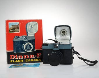 Vintage Diana-F Camera - Collectible Camera - Original Diana-F Flash Camera No 162 -Original Box - Manual - Strap - 120 film Camera