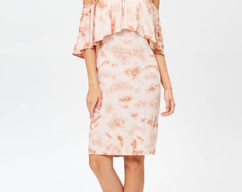Erina Boutique Ruffle Off-shoulder Organic Bamboo Jersey Women Dress Blush Made in Los Angeles