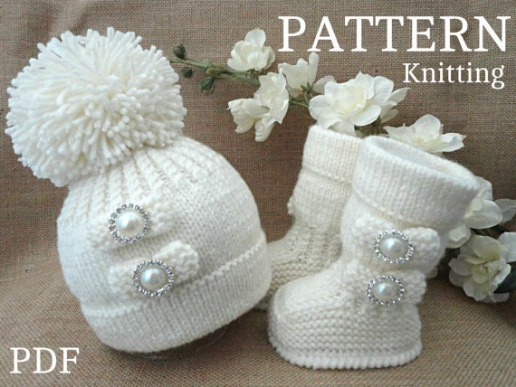 Knitting Pattern Baby Shoes Baby Booties Baby Hat Baby Beanie
