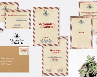 Faire-part mariage et papeterie  Voyage champêtre - bleu & rouge, faire-part mariage vintage, fairepart mariage nature, fairepart printable