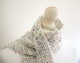 SALE Knitted white / multi autumn / winter scarf with button detail