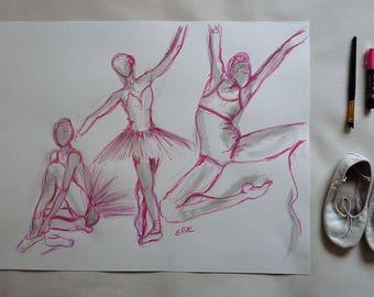 Danseuses Tutu Rose Esquisse artistique  Danse classique Dessin Encre Crayon Originale Format 50 x 65 cm 19 x 25 inch Piece Unique Art