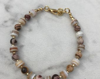 Gold bracelet with Zebra Jasper stones