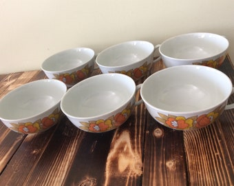 Set Of 6 Vintage Arzberg Gruppe Germany Cups Orange Gold Flowers/Set of 6 Retro Orange Floral Cups/Tea Cups Germany Coffee Cups