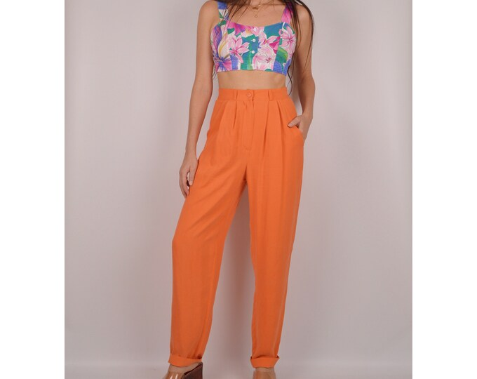 Vintage Tangerine SILK Trousers / S