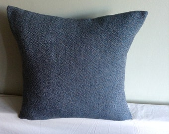 "Blue and grey check 16"" cushion cover,  pillow, scatter cushion."
