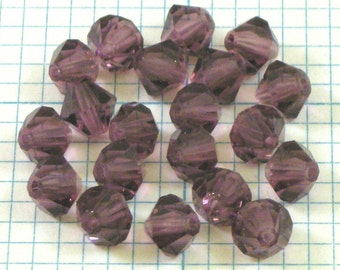 24 6mm Bicone Beads - Amethyst