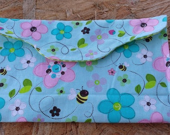Bees and flowers cosmetic bag (hippie style)