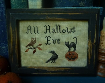 Primitive Halloween Hallows Eve Cross Stitch Sampler Instant Download E Pattern PDF