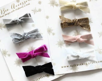 Velvet Hair Bows, Velvet Bows, Velvet Hair Clips, Velvet Clip Set, Velvet Barrettes, Velvet Clippies, Gifts Under 15, U PICK from 50