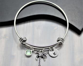 Palm Tree Bracelet - Tropical Jewelry - Palm Tree Bangle - Tropical Bracelet - Palm Tree Gift - Women's Palm Tree Bracelet