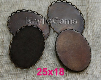 25x18 mm Oxidized OX Brass Oval Lace Edge Cup Settings 18x25 mm -Made in USA - 4pcs